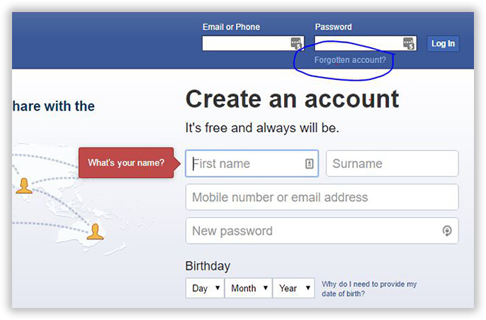 facebook password reset without mobile number