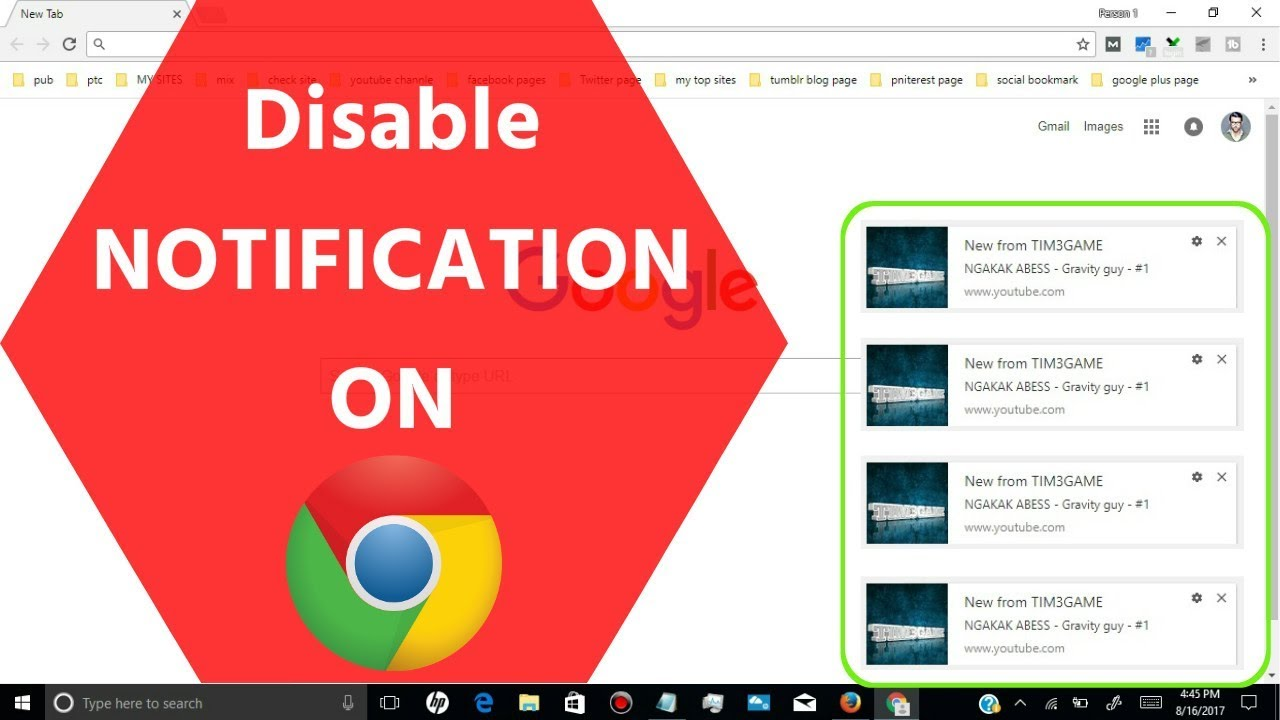 stop notifications from Google Chrome
